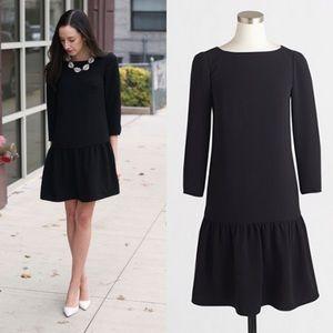 J. Crew Factory Black Crepe Drop Waist Dress